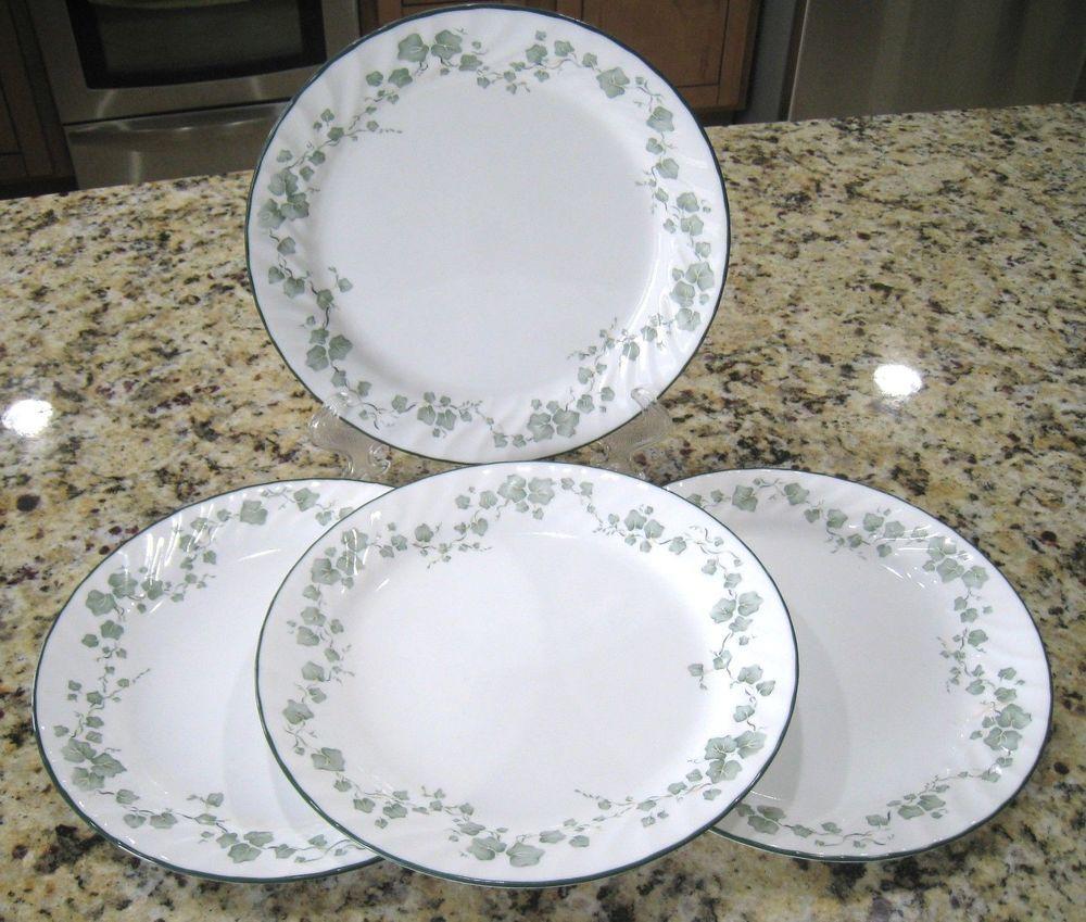 CORELLE CALLAWAY GREEN IVY 10 1/8\  DINNER Plates Swirled Rims Green Edges # & CORELLE CALLAWAY GREEN IVY 10 1/8\