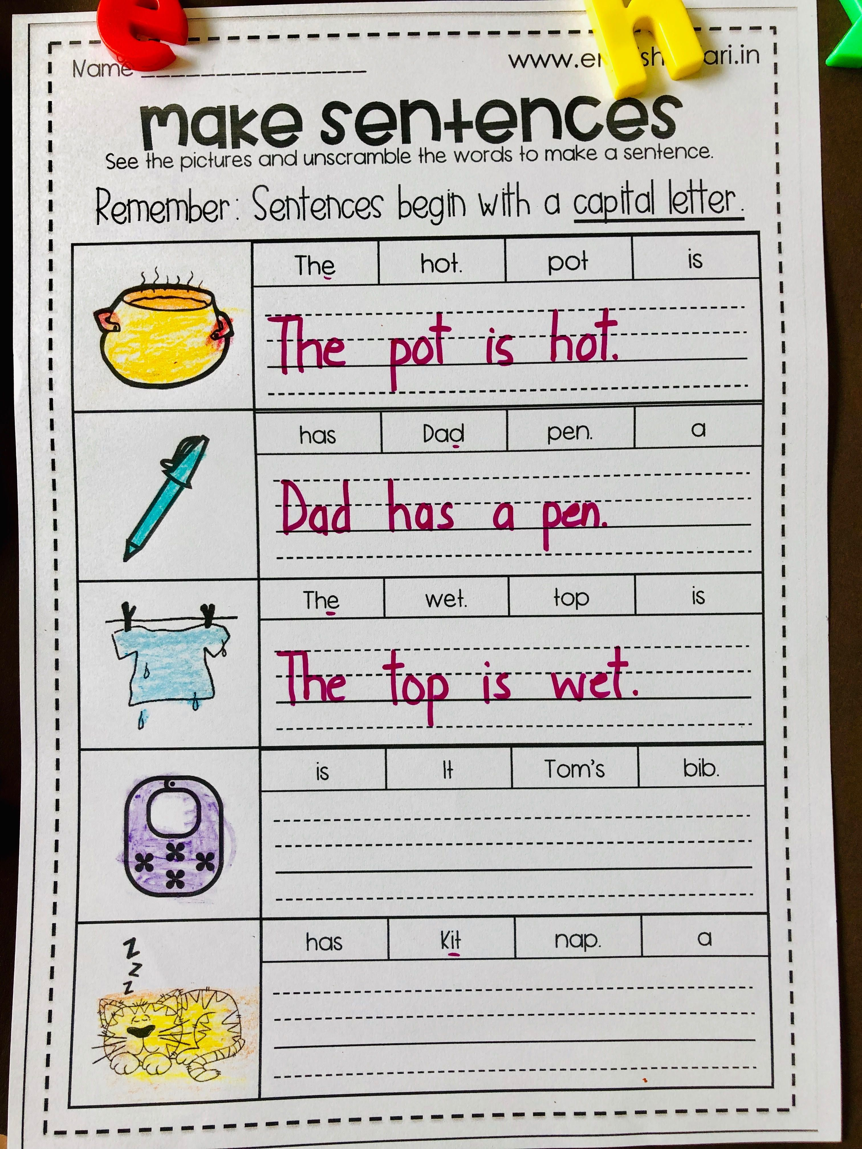 Phonics Sentences Worksheets Pack Free