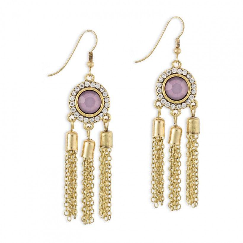 Boucles d'oreilles pendantes pierre violette