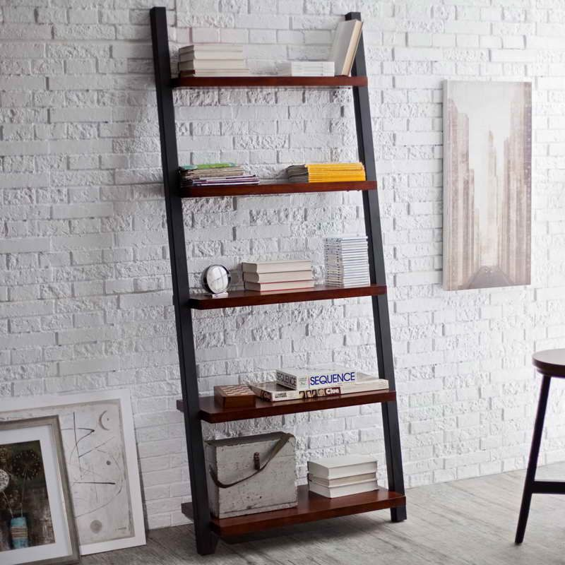 Brick Wall Painted White Leaning Bookshelf Bookshelves Diy Cool Bookshelves Wall Bookshelves