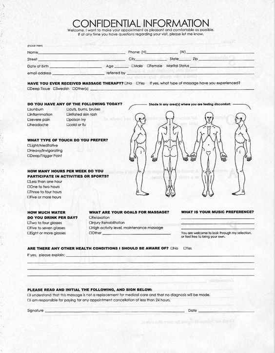 intakeformjpg 1,255×1,609 pixels massage Pinterest - information form template word