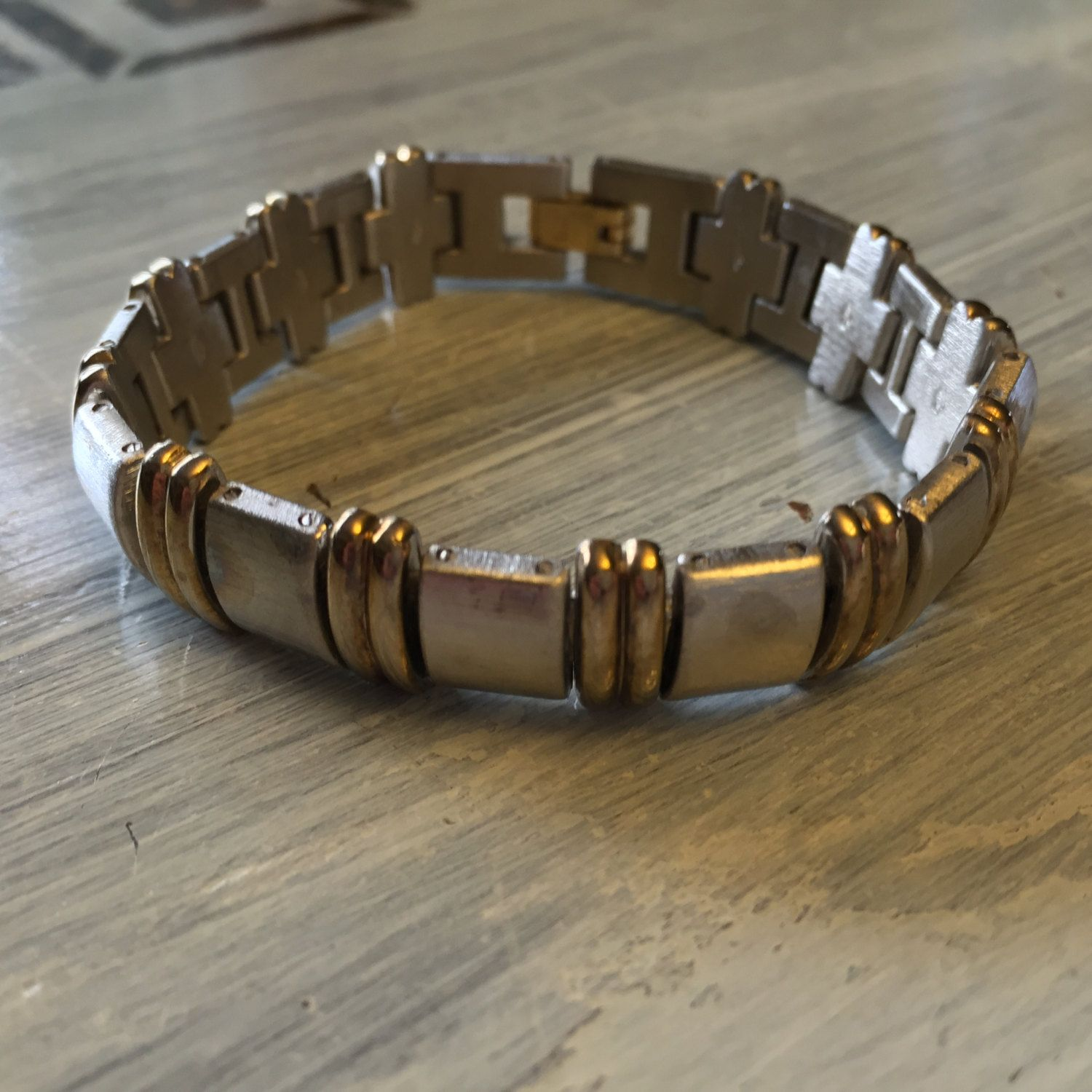 Handsome silver u gold link bracelet two toned textured thick heavy