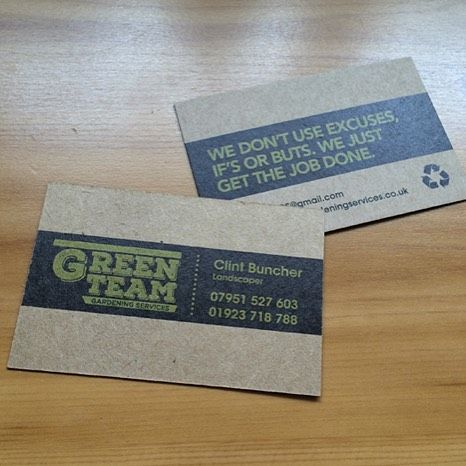 100% recycled Business Cards for an organic feel and good for the ...