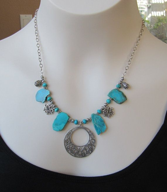 Turquoise NecklaceSilver Necklace December by nicolemariejewelry, $48.00