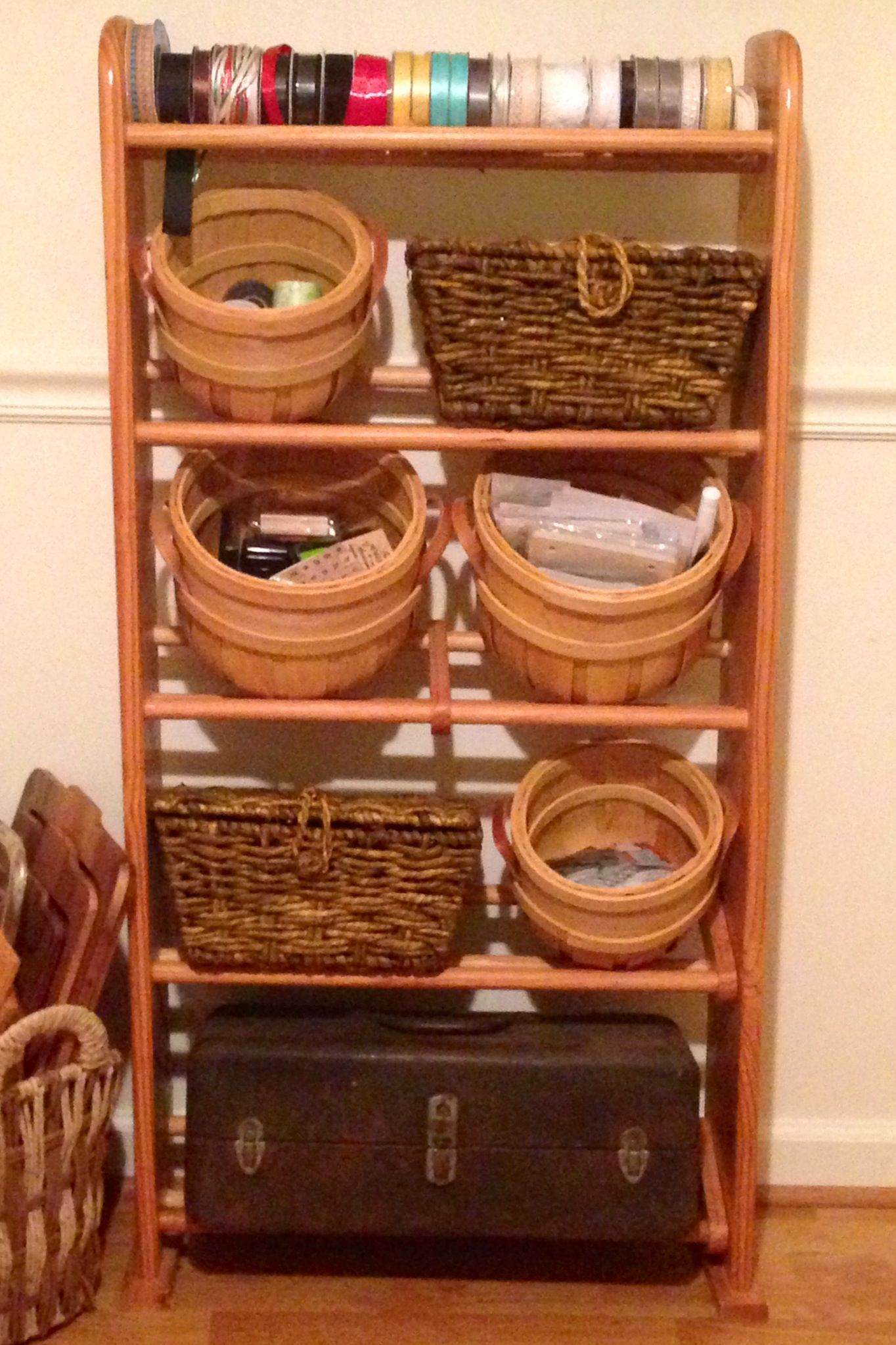 Lovely New Use For The Old VHS Tape Storage Rack! Craft Organizer!