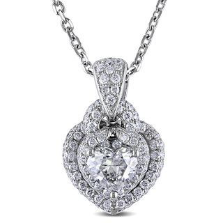 Miadora Signature Collection 14k White Gold 1 7/8ct TDW Diamond Heart Necklace (H-I, I1-I2)
