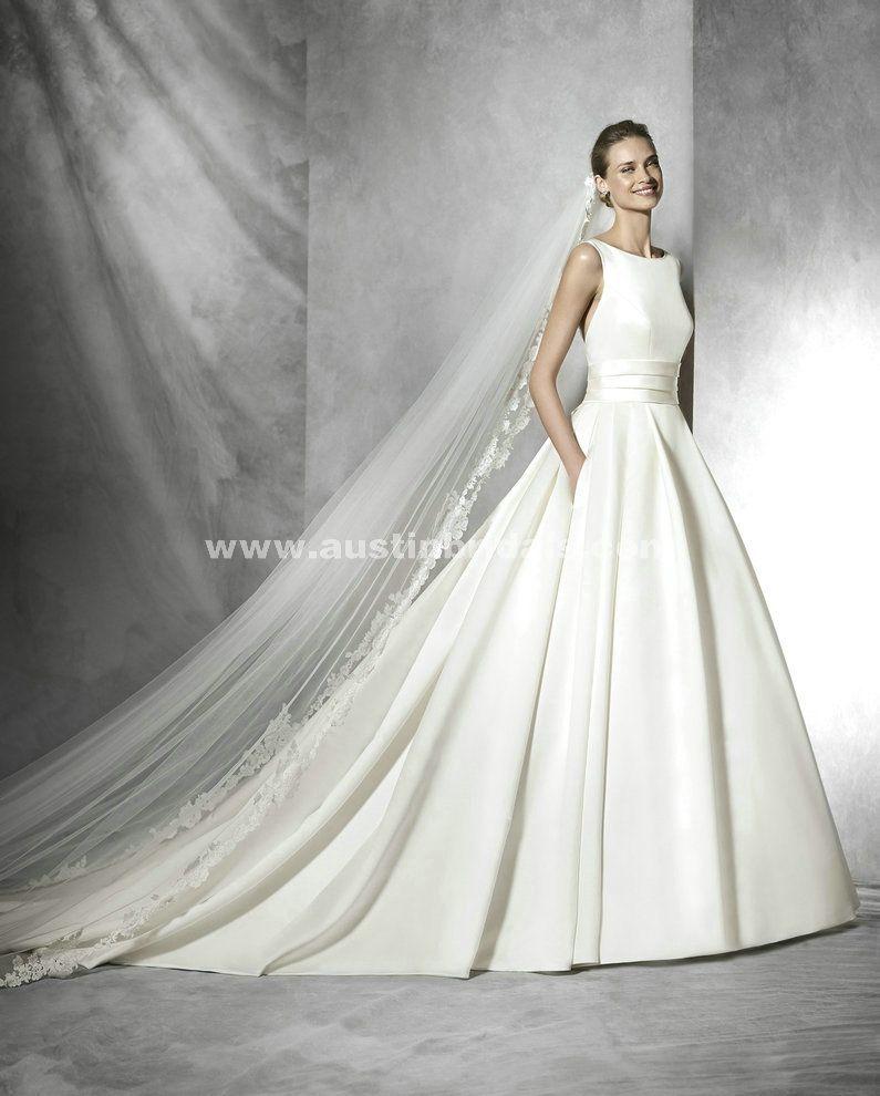 Pronovias Tami Satin Bow And Sash And draped Princess wedding dress ...