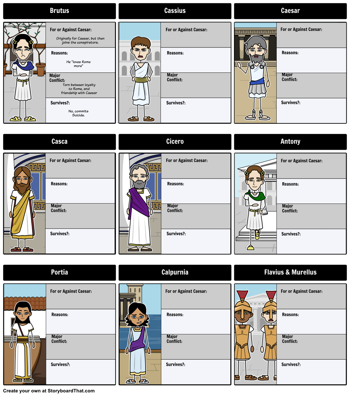julius caesar act comic strip for note taking active reading the tragedy of julius caesar character map let s create a character map for the