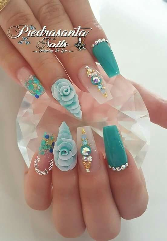 Summer Nails With Flower Decors Flower Nails Luxury Nails Nail Designs