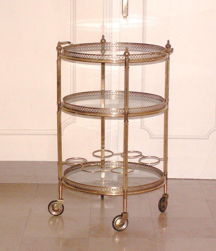 Rare table bar desserte roulante ronde roulettes maison bagu s bronze dor bar cart - Table desserte a roulettes ...