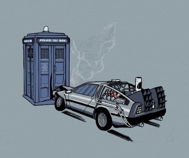 The best of both time traveling worlds. Doctor Who tardis and the Time Machine.
