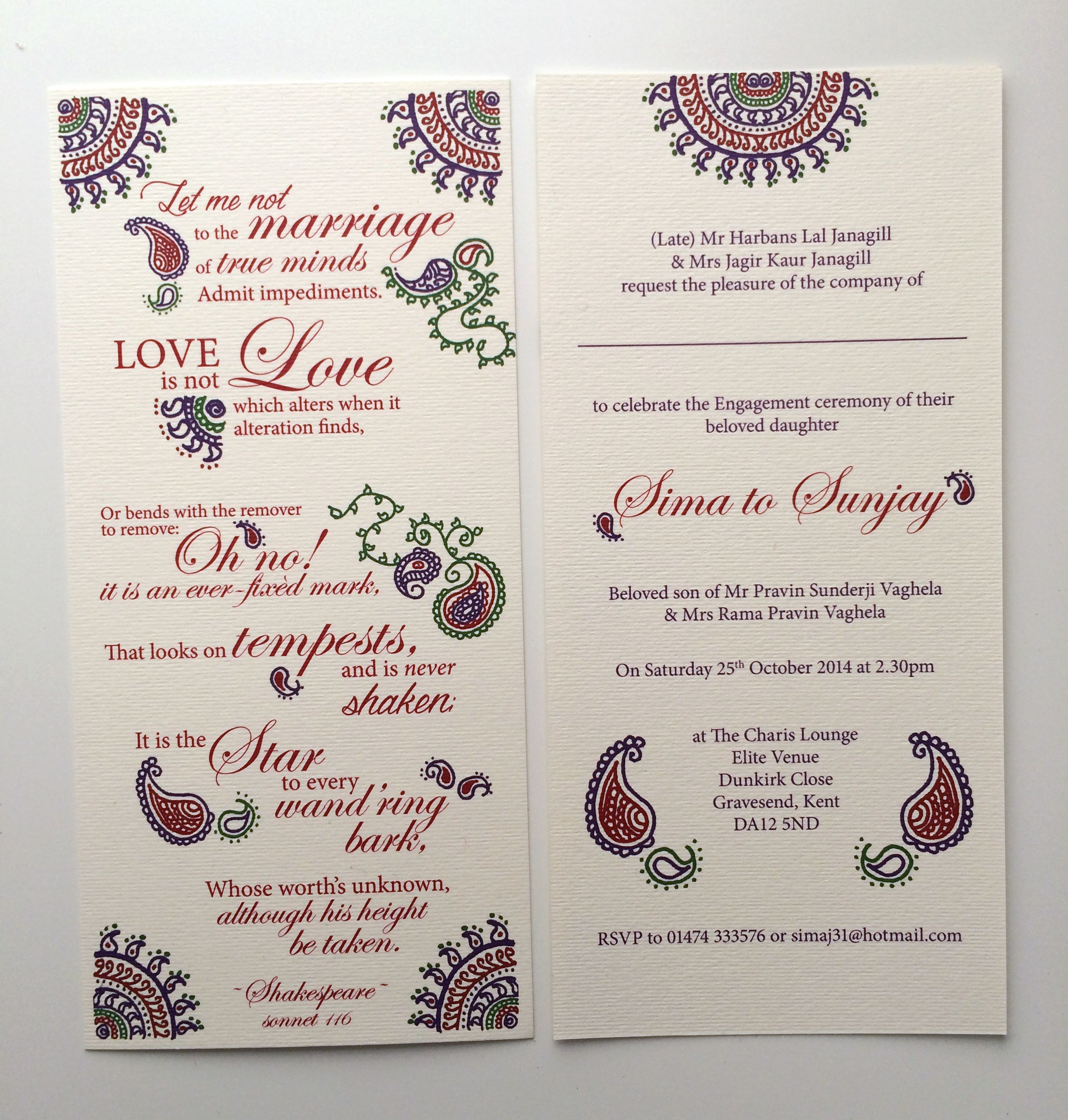 muslim wedding card invitation quotes%0A Shakespeare Sonnet engagement  sagai  hindu wedding invitation  Designed  with hand drawn patterns