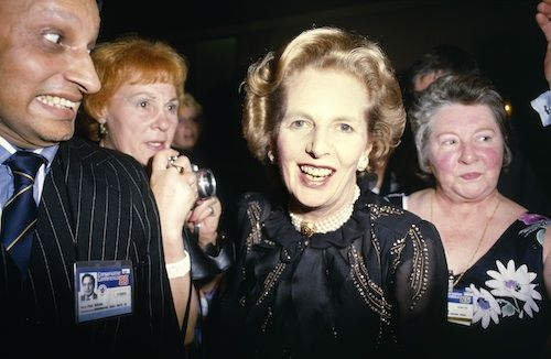 margaret thatcher and admirers in 1989