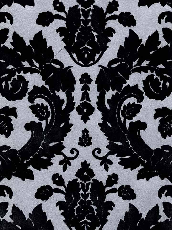 Victorian Flocked Velvet Wallpaper - Black on Silver [FLK ...