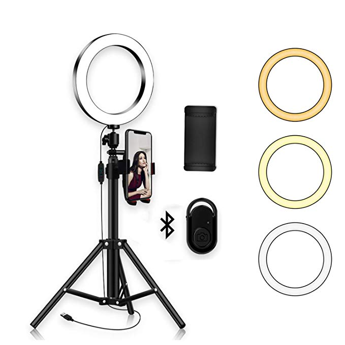 Amazon Com Ring Light With Tripod Stand Phone Selfie Kit 8 Inch Led Camera Ringlight For Makeup Youtube Selfie Ring Light Photo Studio Lighting Circle Light