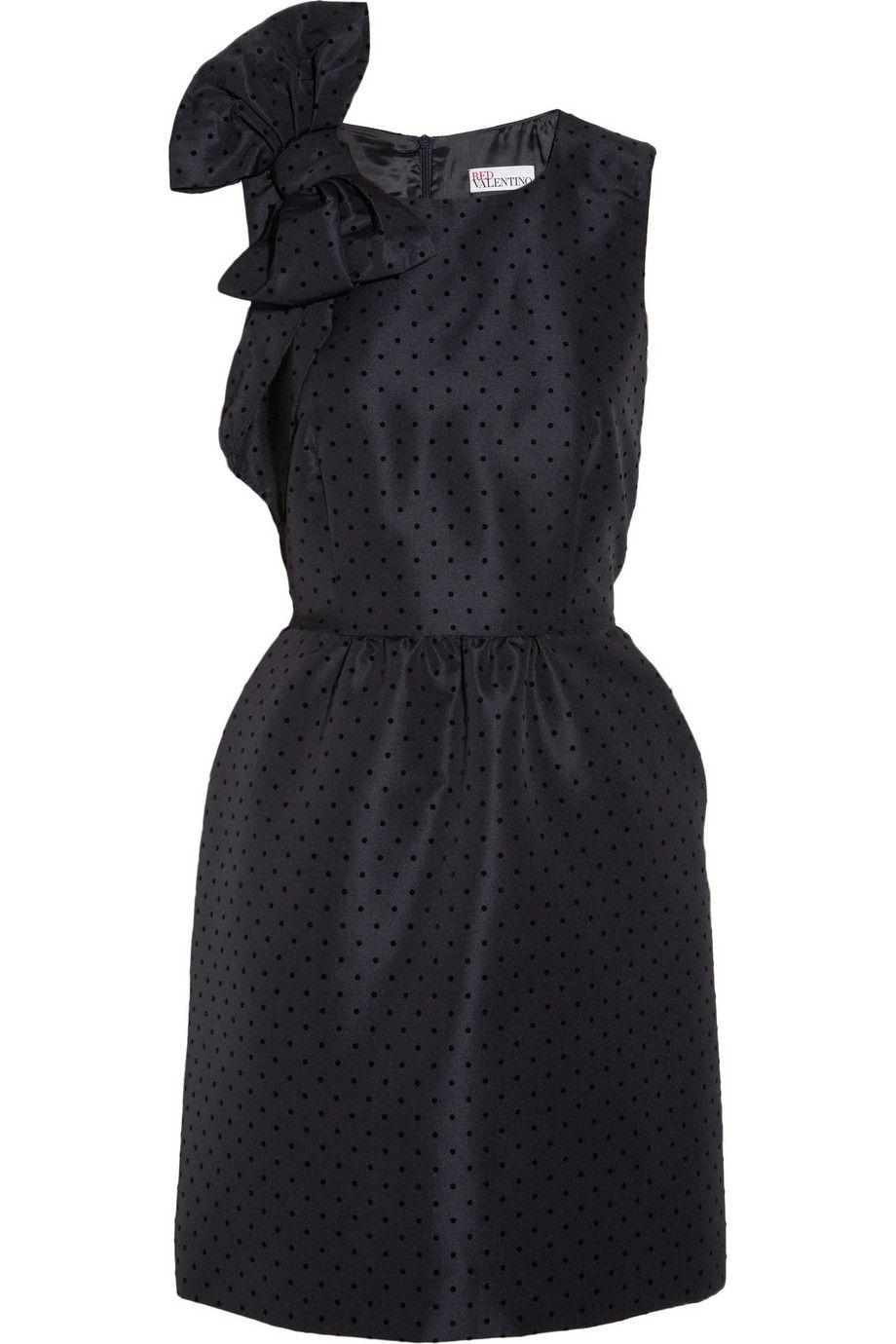 REDValentinoFlocked polka-dot faille dress