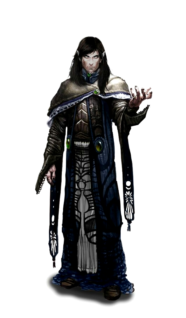 Male Elf Necromancer Wizard - Pathfinder PFRPG DND D&D d20 fantasy