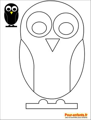 Silhouette chouette pour les bricolages et activit s manuelles des enfants coloriages Bricolage maternelle halloween