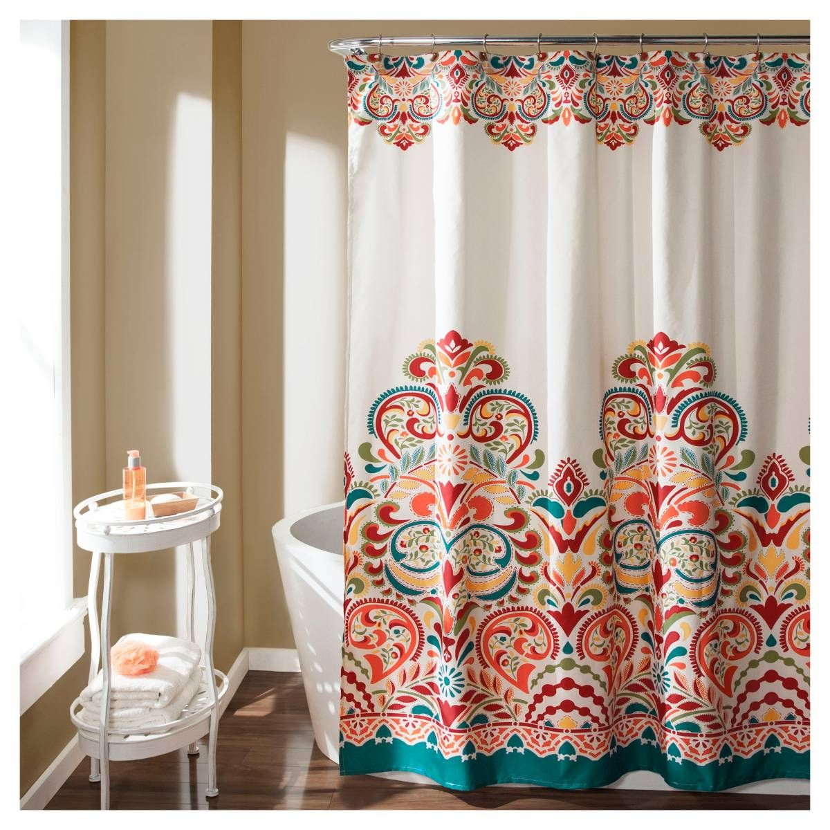 Clara Shower Curtain Turquoise Lush Decor Patterned Shower