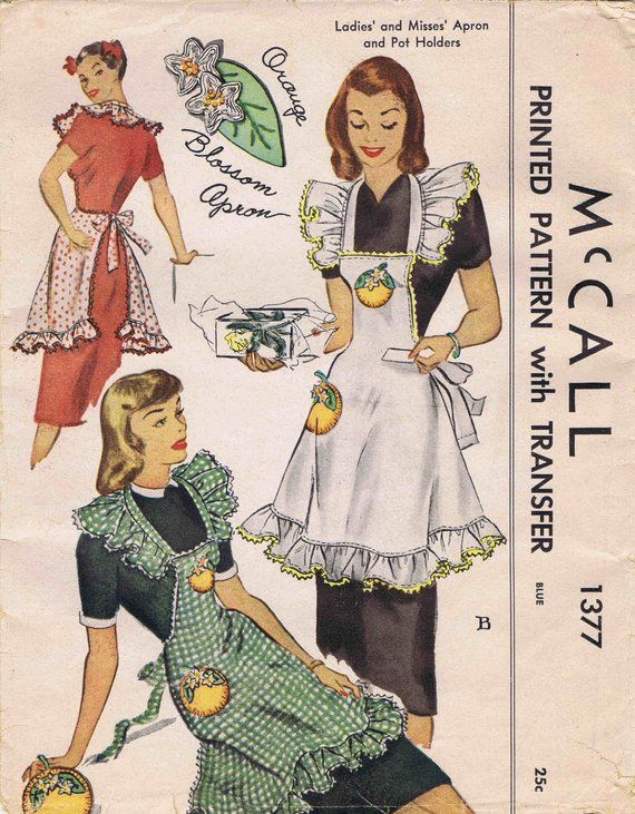 1940s Apron and Pot Holders McCall 1377 Vintage Sewing Pattern UNCUT ...