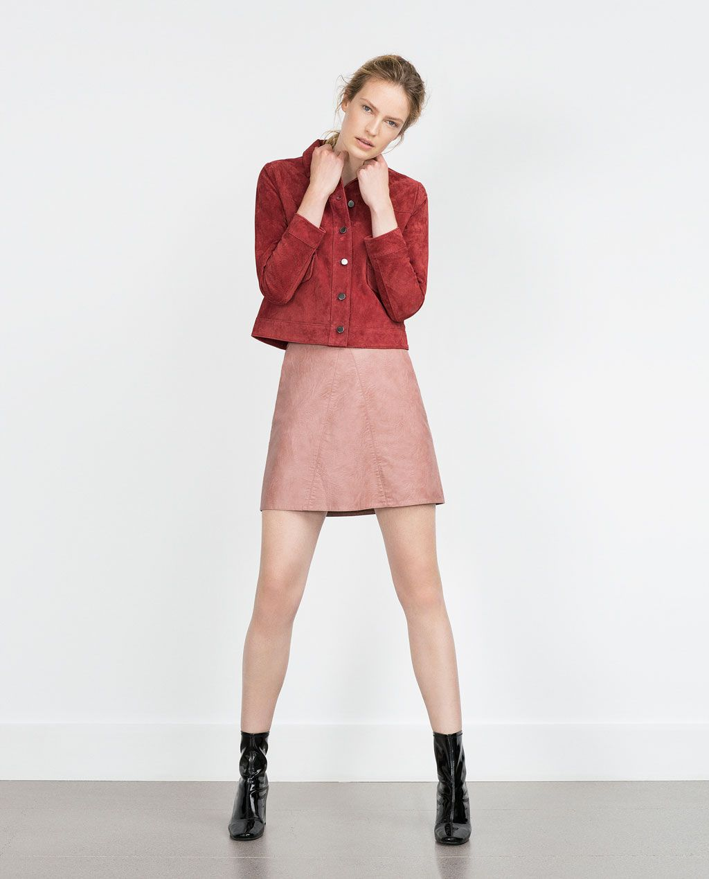 ZARA - COLLECTION AW15 - FAUX LEATHER SKIRT