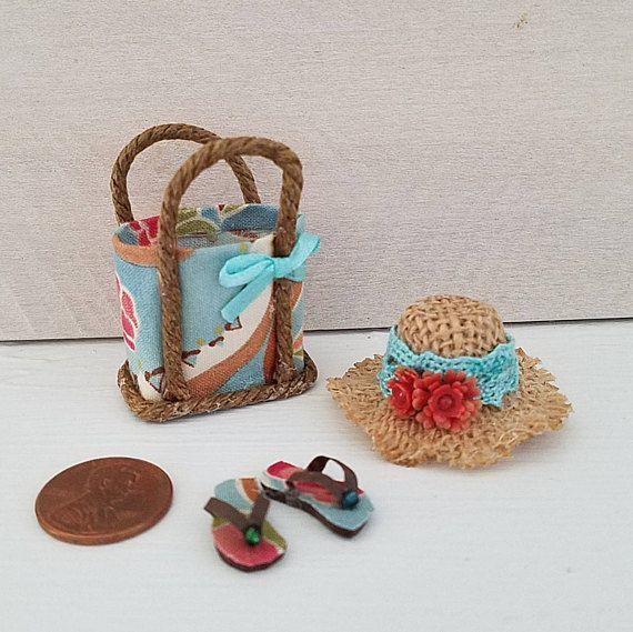 Miniature Beach Bag Hat Flip Flops Beach Accessories Dollhouse