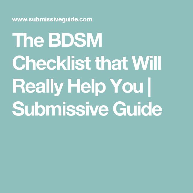Bdsm check lists