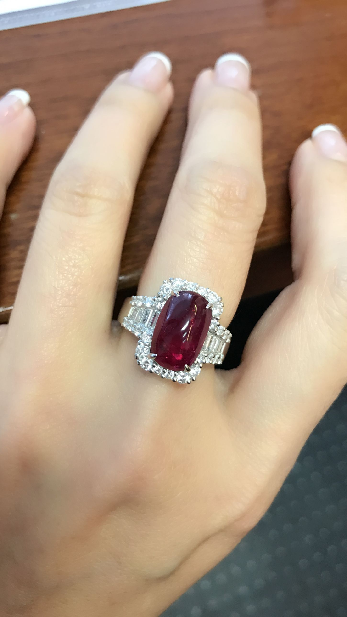 Pigeon Blood Red Ruby And Diamond Ring Set In Platinum