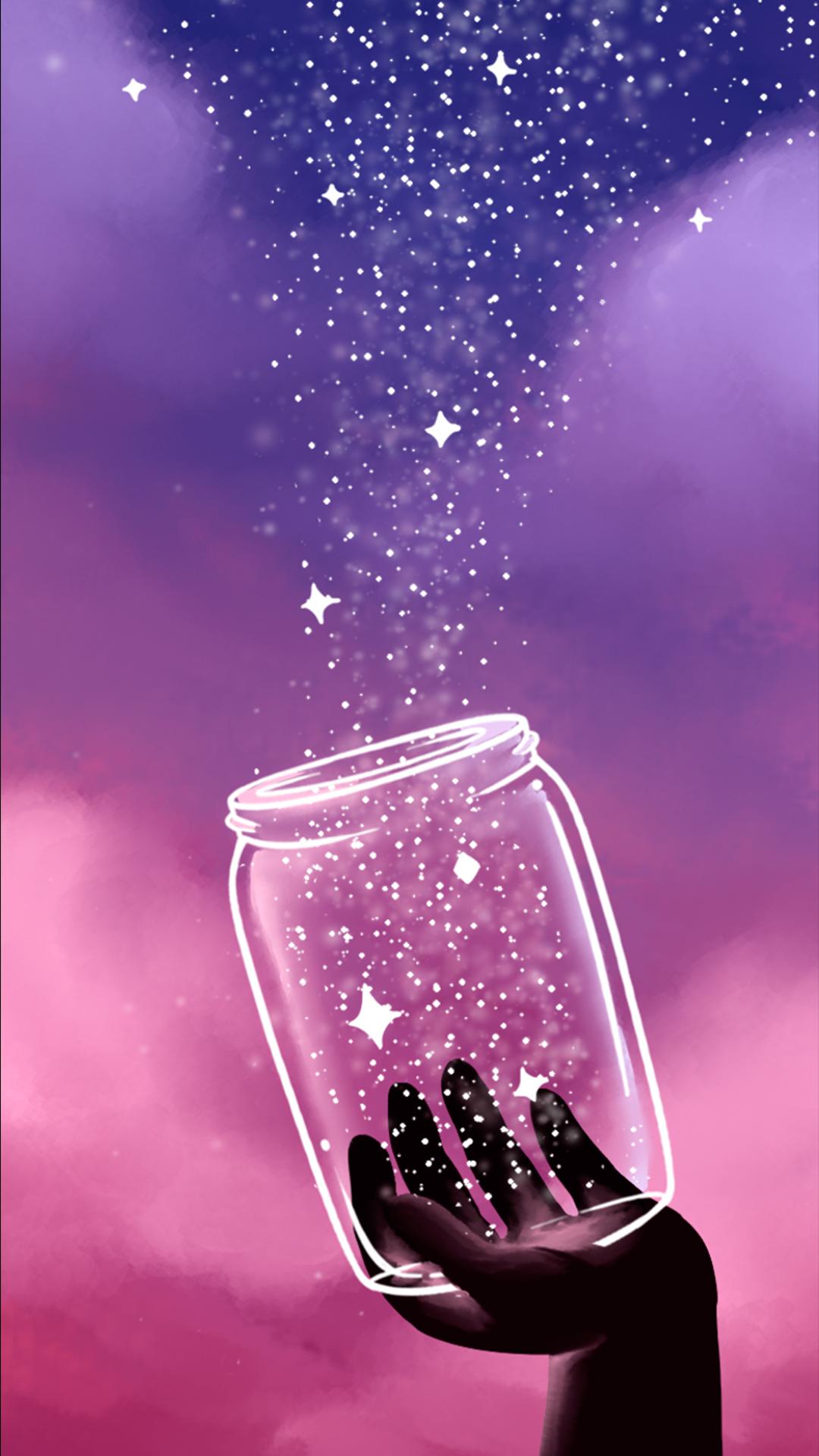 Wallpaper Potinho de Estrelas by Gocase, pink, rosa, purple, roxo, estrelas, stars, pote, hands, mãos, nuvens, clouds, night, noite, sky, céu, wallpaper, papel de parede, fundo de tela, background, gocase, lovegocase, #potinho, #estrelas, #stars, #gocase, #lovegocase, #wallpaper #background, #fundodetela, #sky, #céu, #sky, #clouds