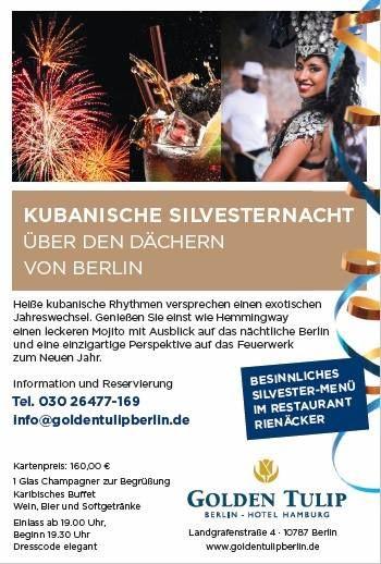 Haben Sie schon Pläne für Silvester? Wir veranstalten eine unvergessliche Silvesternacht mit kubanischen Rhythmen & Drinks und bieten dazu einen einzigartigen Blick über Berlin!