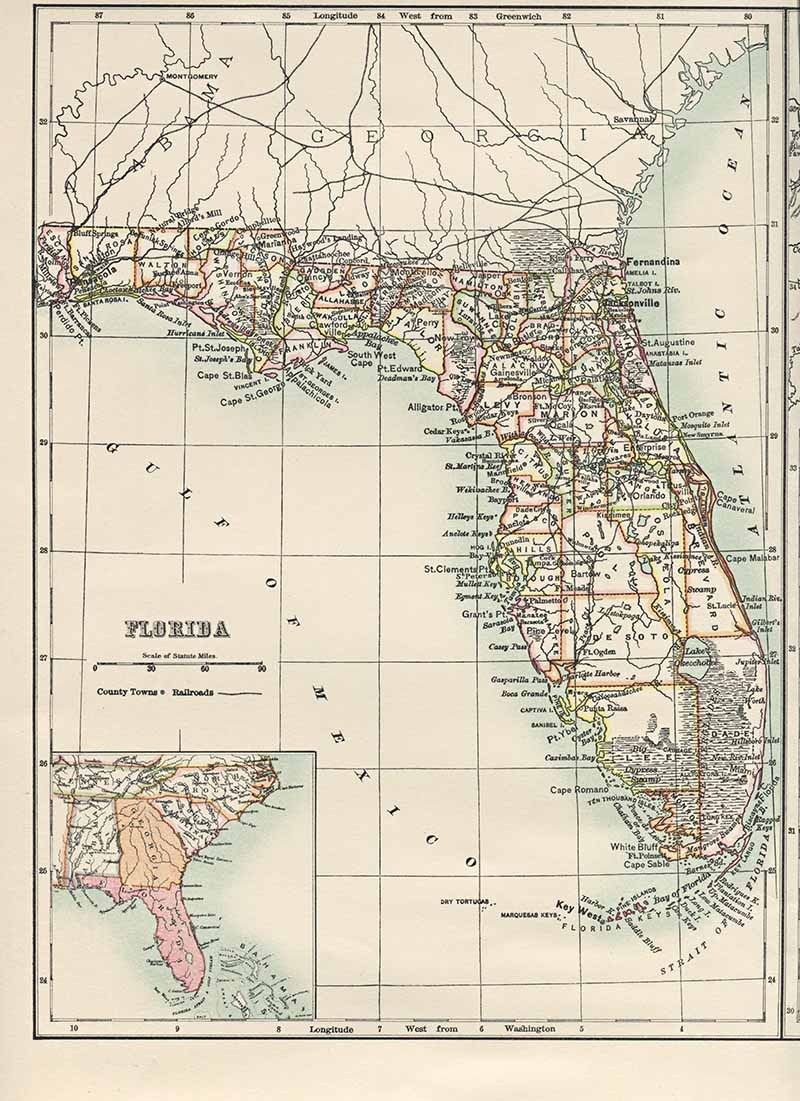 Map Of Usa Florida.Old Map Of Florida Usa Maps And Books Map Us State Map Vintage