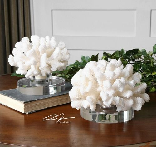 Impressive off-white coral pieces mounted on gorgeous clear round crystal bases.