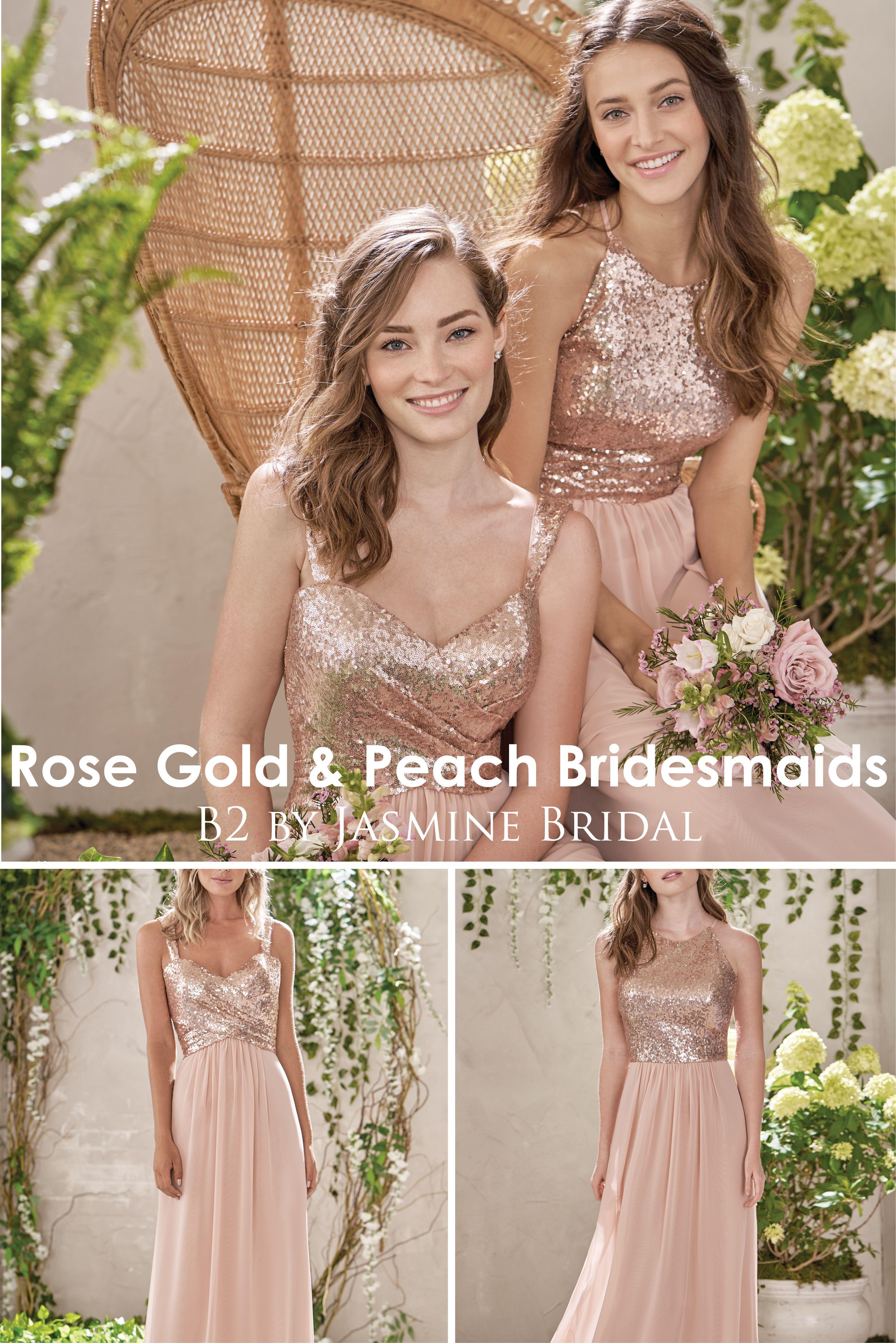 Jasmine Bridal B2 Rose Gold Peach Bridesmaids Designer Bridesmaid Dresses Rose Peach Bridesmaid Rose Gold Bridesmaid Dress Peach Lace Dress Bridesmaid