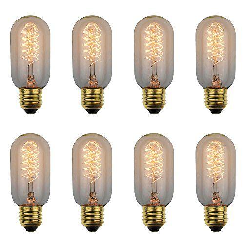Dealighting 25 Watt Edison Bulb Antique Nostalgic Warm Yellow Dimmable Incandescent Filament Light Bulbs 8 Pack Vintage Light Bulbs Edison Bulb Bulb