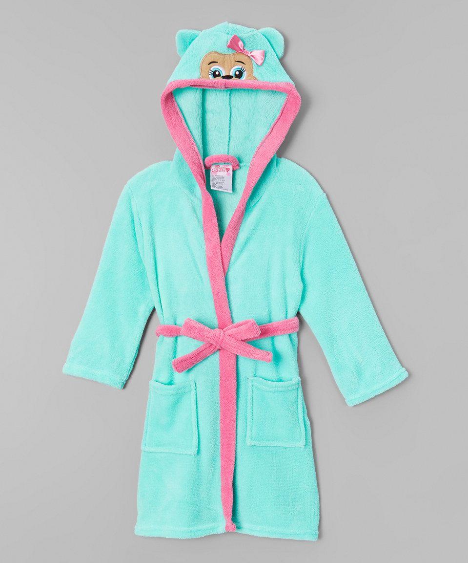 1000% Cute Mint Bear Hooded Robe - Girls by 1000% Cute #zulily #zulilyfinds