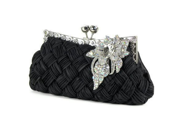 Black Bridal Clutch Purse Bridesmaids Evening Bag Vintage Style With Crystal Rhinestone Flower Brooch