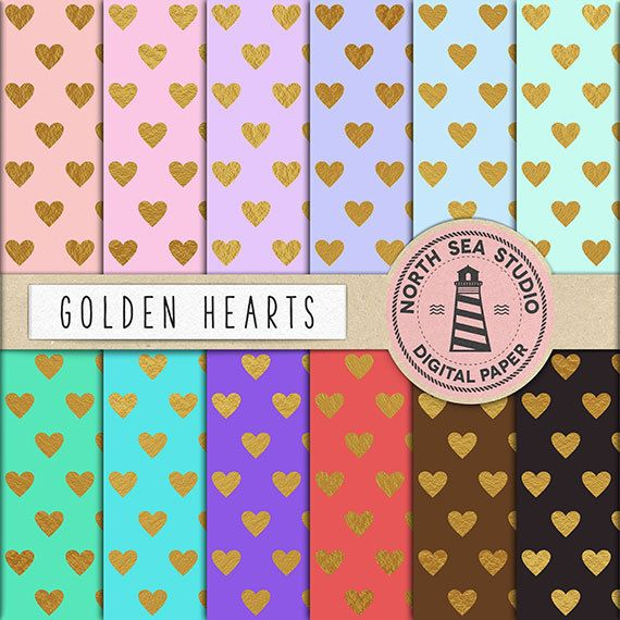 "Gold digital paper: ""GOLDEN HEARTS"" - digital scrapbook paper, printable heart pattern, backgrounds in pastel colors  - digital download"