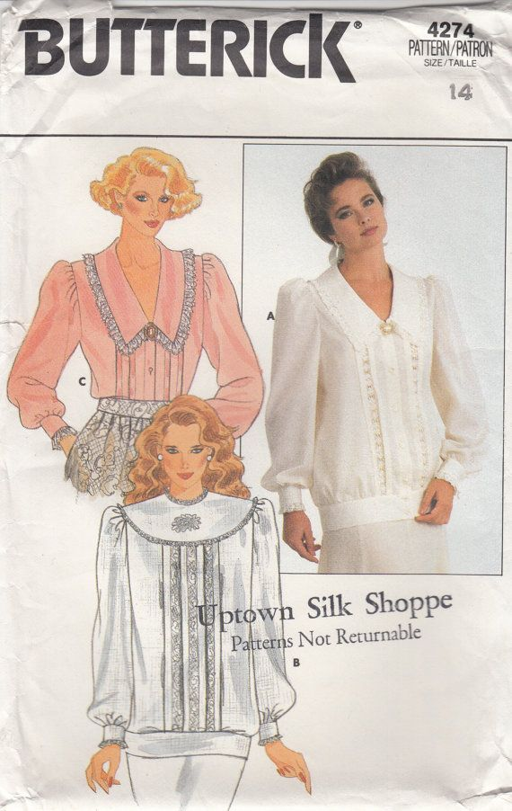 ROMANTIC BLOUSE PATTERN 80s Sewing Pattern Lacey by HoneymoonBus ...
