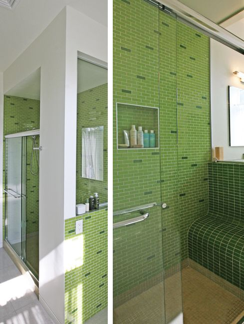Light Green Bathroom With Subway Tile