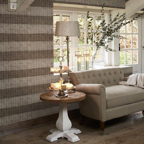 Riviera Maison Tapete Rustic Rattan Stripe Sunkissed Im Wohnzimmer