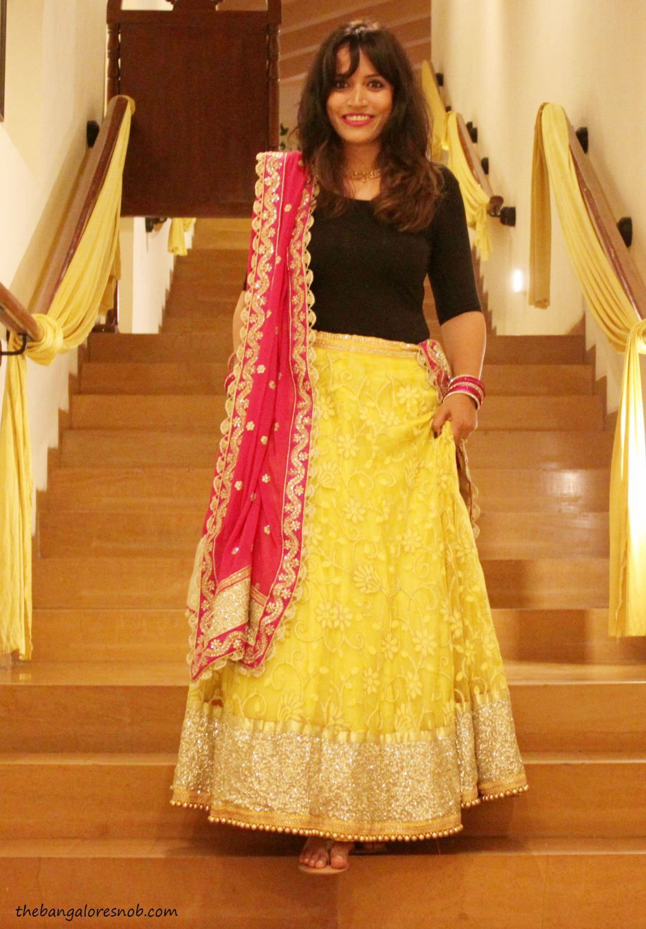 Design your own t shirt bangalore - Indo Western Combination Teamed Up A T Shirt With A Yellow Lehenga And Pink