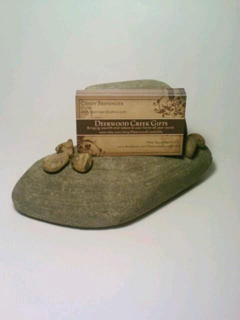 Business Card Holder Stone Rock Ooak By Deerwoodcreekgifts On Etsy 15 00