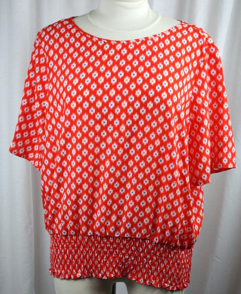 Michael Kors Womens Short Sleeve Elastic Waist Polyester Pull Over Top Size XL #MichaelKors #Blouse