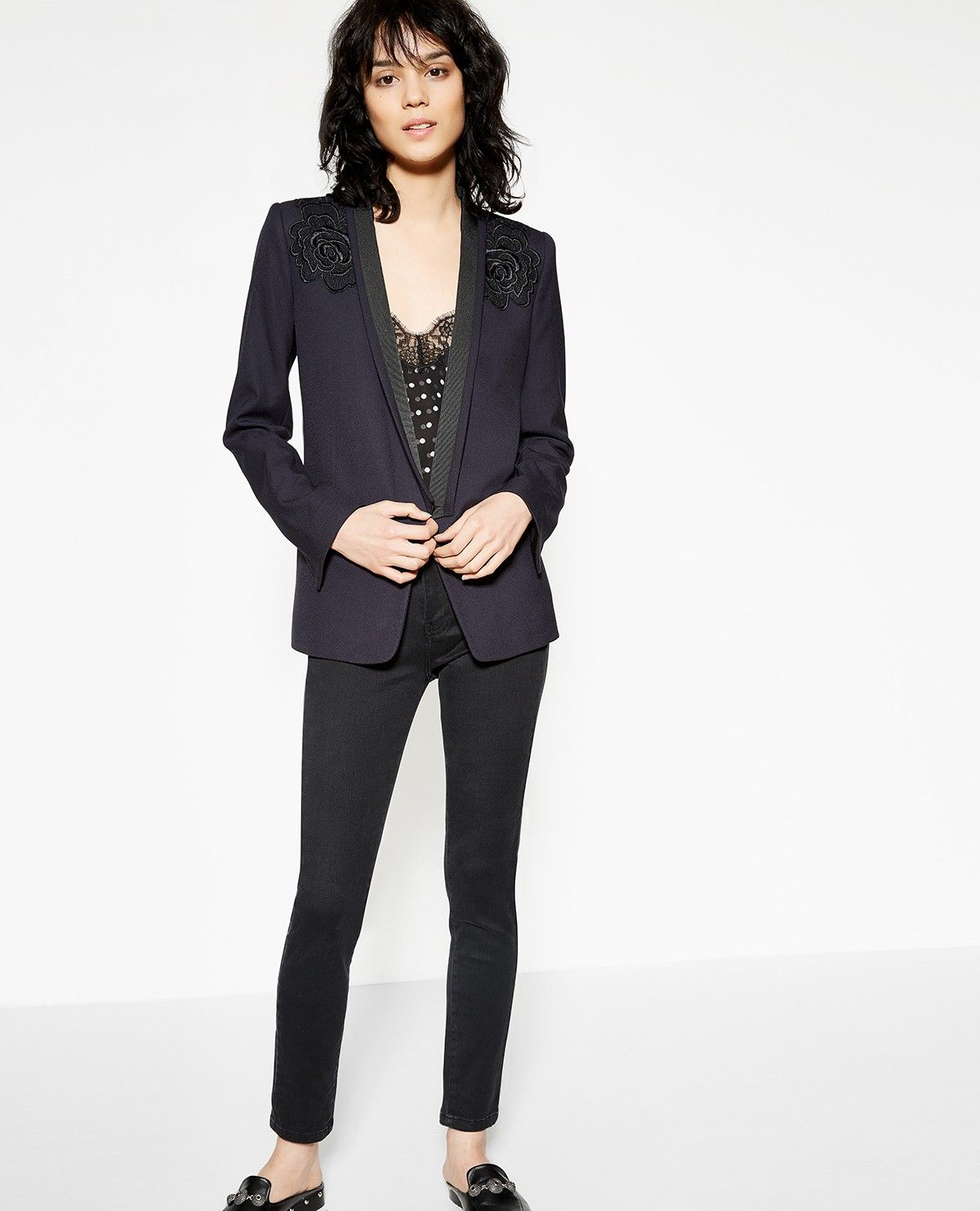 5e49057be1 Women's navy blue embroidered suit jacket - Collection THE KOOPLES ...