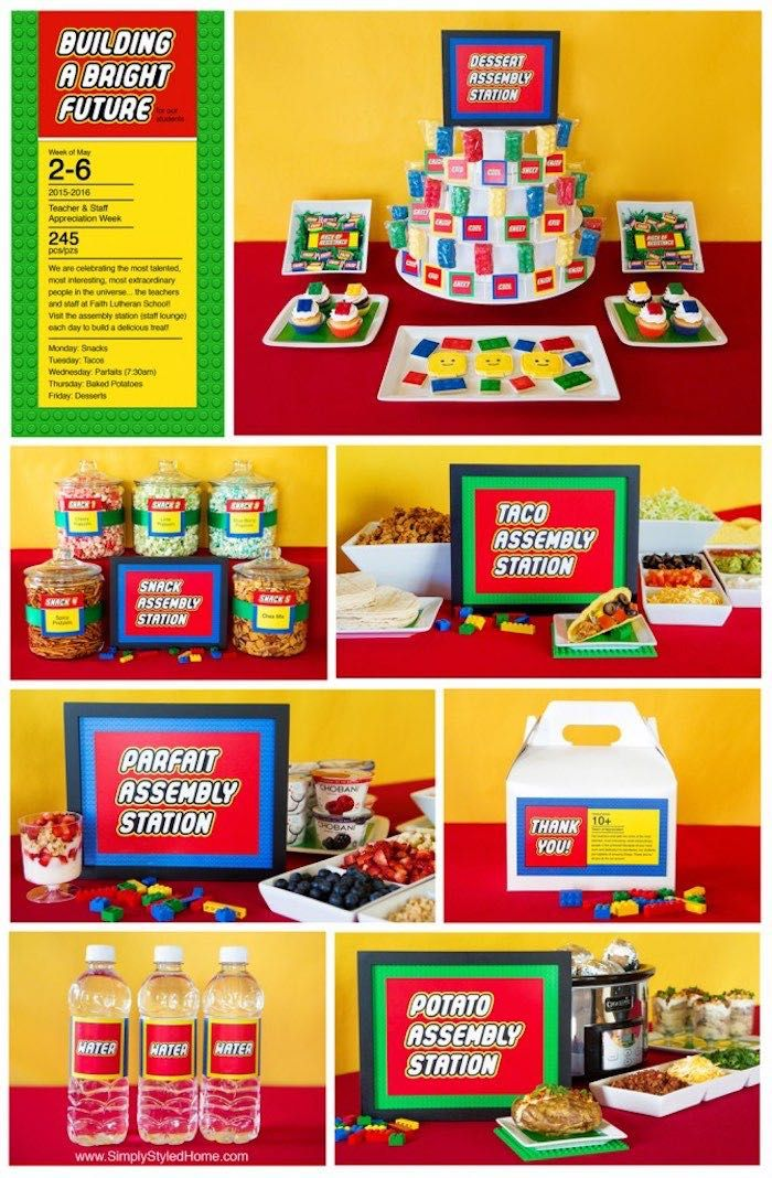 Lego Inspired Teacher Appreciation Party | Back To School ...