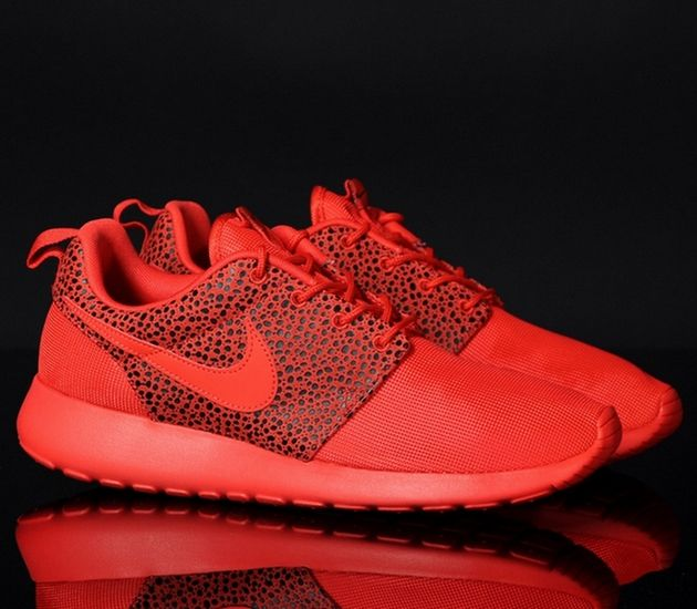 acbe4759bb8f Nike Roshe Run Premium Safari – Challenge Red   Black