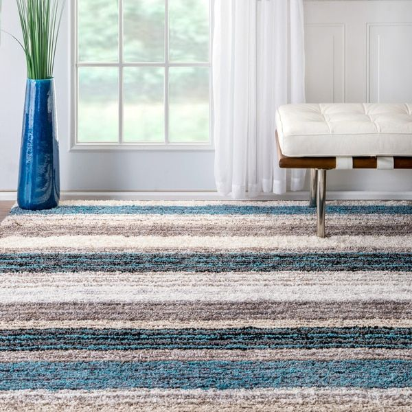 nuloom handmade striped plush rug 9 x 12 blue size