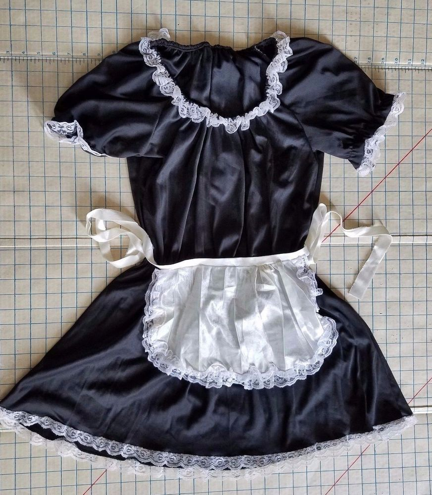 French Maid Dress Halloween Costume Women One Size Fits Most BlACK WHITE #Unbranded #CompleteOutfit