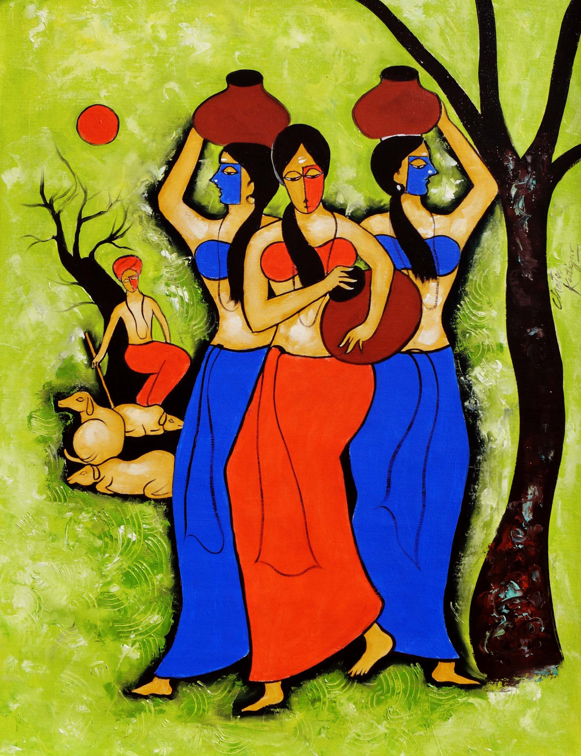 Here in this art work the artist painted women carrying