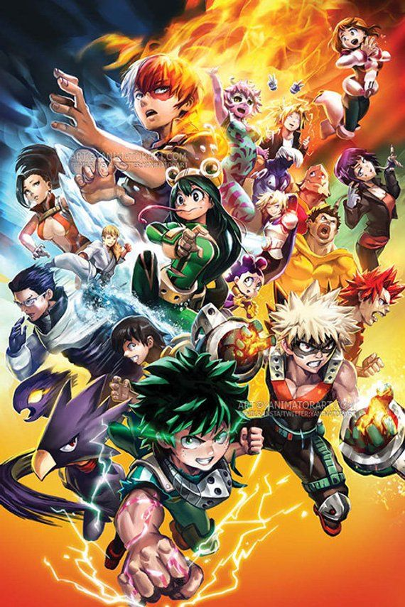 Boku no Hero Academia Group Poster Print My Hero Wall Art Fanart Decor Shonen Jump Anime Manga Digital Illustration Home Decoration